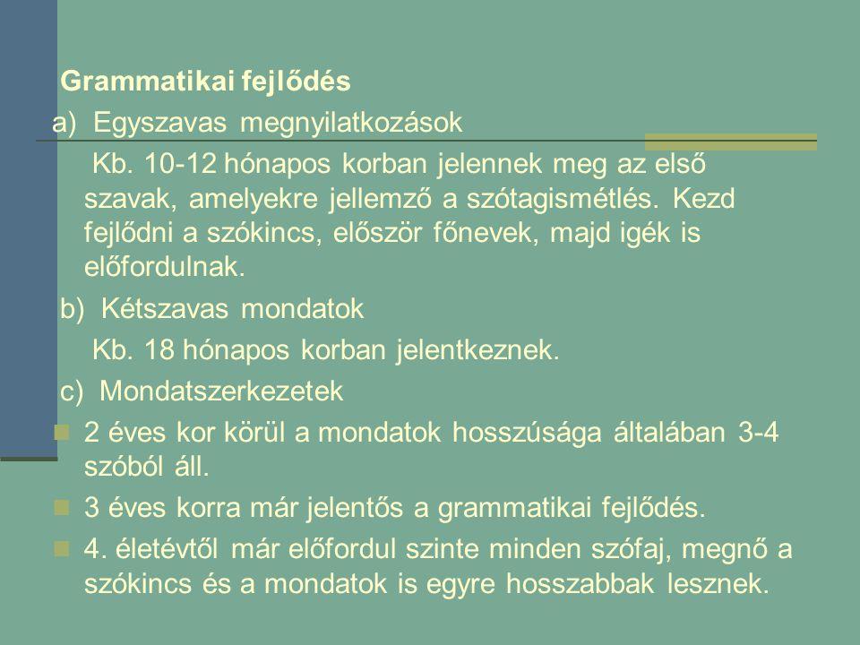 Grammatikai fejlődés a) Egyszavas megnyilatkozások.