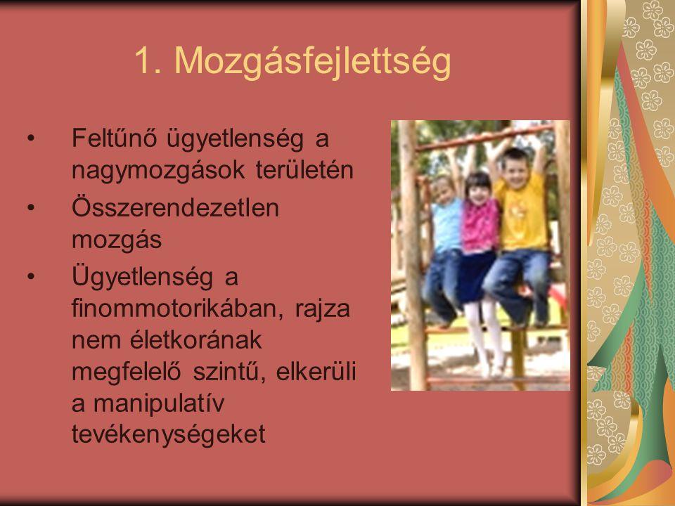 1. Mozgásfejlettség Feltűnő ügyetlenség a nagymozgások területén