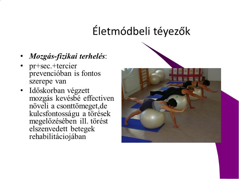 Életmódbeli téyezők Mozgás-fizikai terhelés: