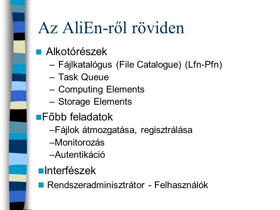 Az AliEn-ről röviden Alkotórészek Főbb feladatok Interfészek