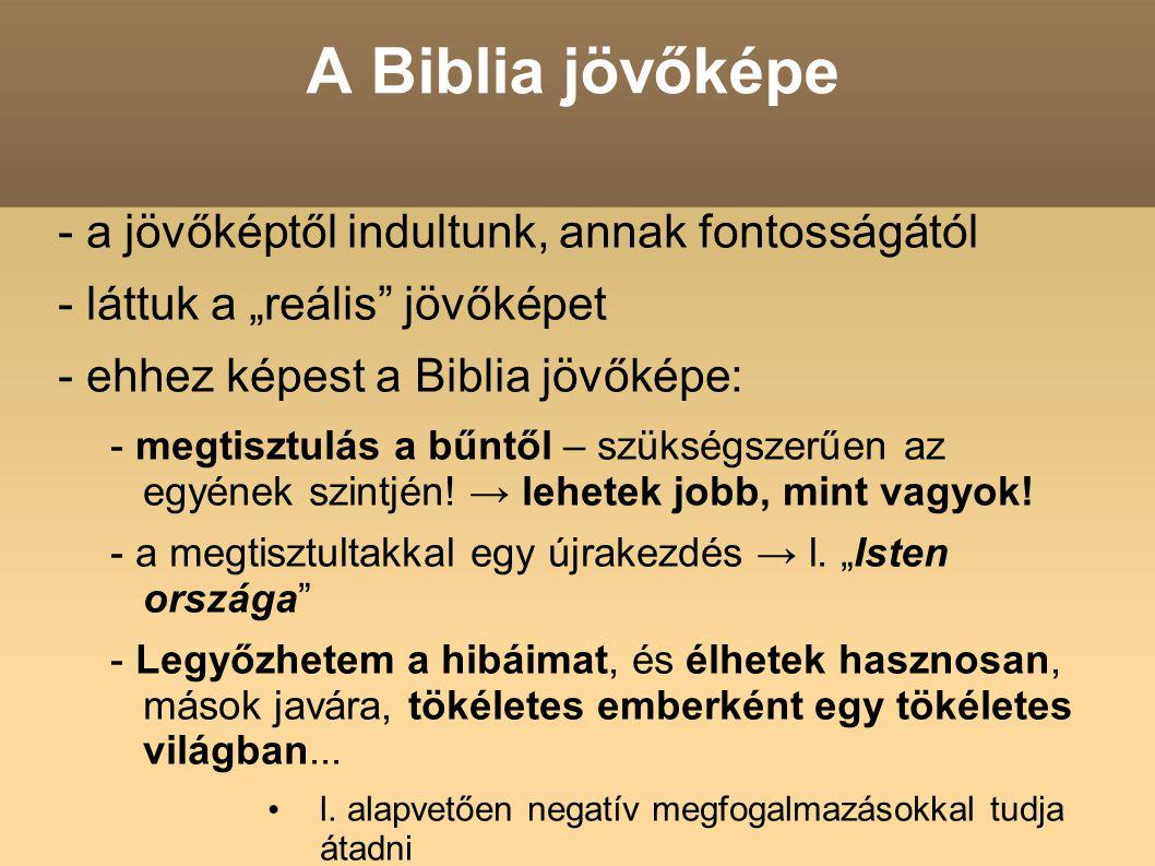 A Biblia jövőképe - a jövőképtől indultunk, annak fontosságától