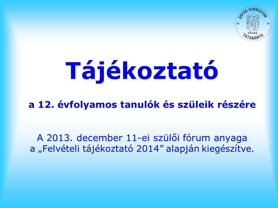 Tájékoztató a 12. évfolyamos tanulók és szüleik részére A 2013
