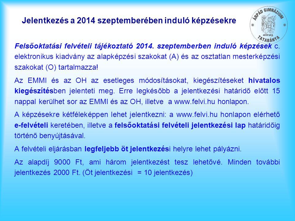 Jelentkezés a 2014 szeptemberében induló képzésekre