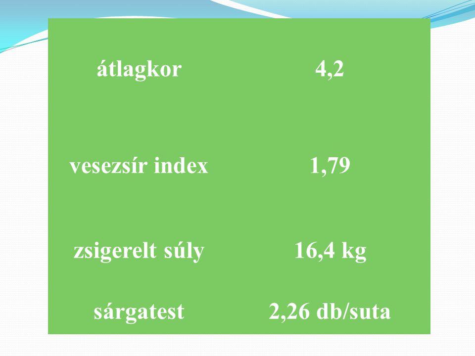 átlagkor 4,2 vesezsír index 1,79 zsigerelt súly 16,4 kg sárgatest 2,26 db/suta