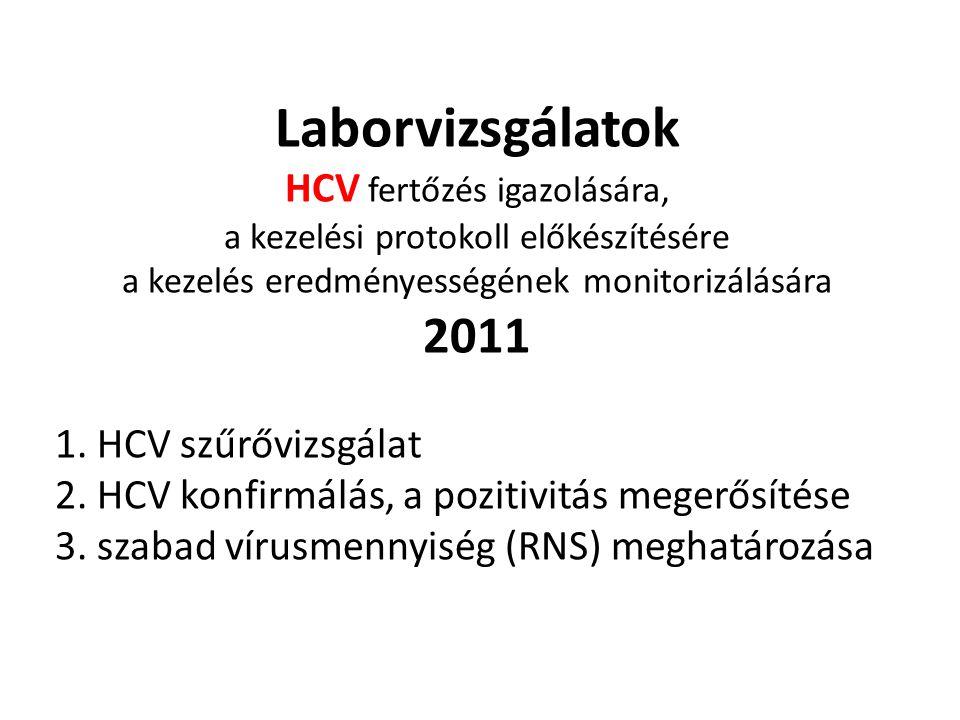 Laborvizsgálatok HCV fertőzés igazolására, a kezelési protokoll előkészítésére a kezelés eredményességének monitorizálására 2011
