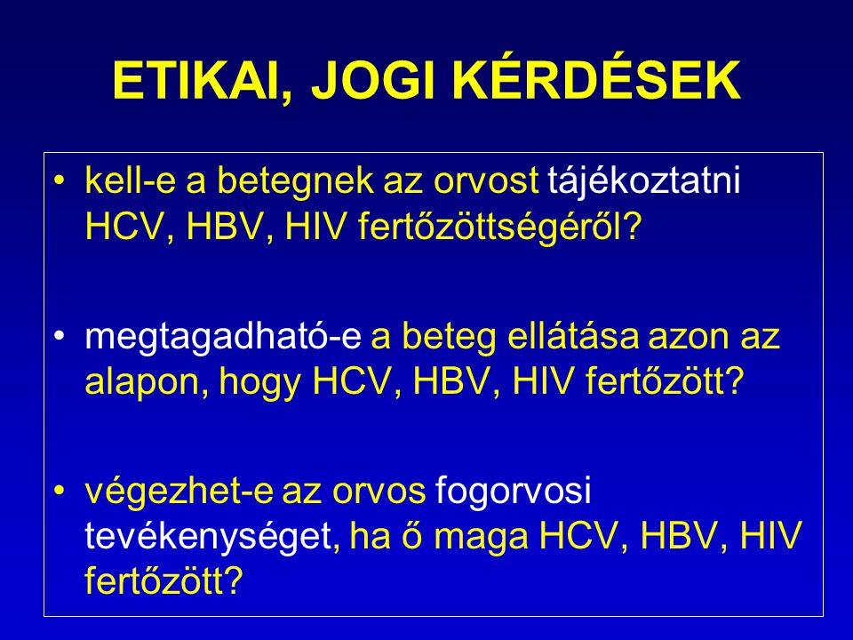 ETIKAI, JOGI KÉRDÉSEK kell-e a betegnek az orvost tájékoztatni HCV, HBV, HIV fertőzöttségéről