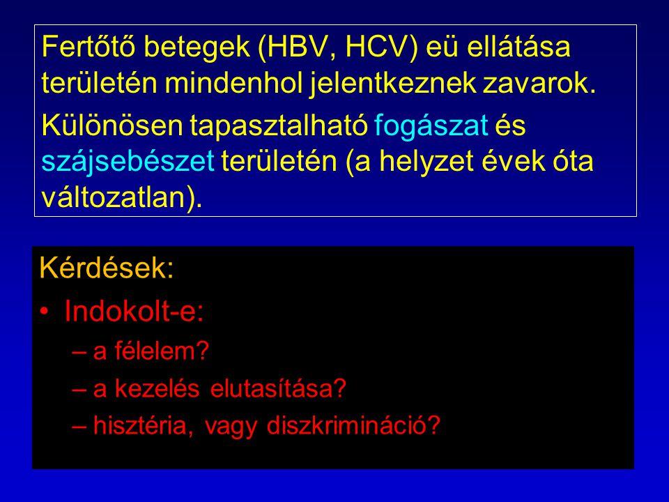 Fertőtő betegek (HBV, HCV) eü ellátása területén mindenhol jelentkeznek zavarok. Különösen tapasztalható fogászat és szájsebészet területén (a helyzet évek óta változatlan).