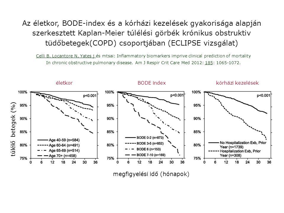 Az életkor, BODE-index és a kórházi kezelések gyakorisága alapján szerkesztett Kaplan-Meier túlélési görbék krónikus obstruktiv tüdőbetegek(COPD) csoportjában (ECLIPSE vizsgálat)
