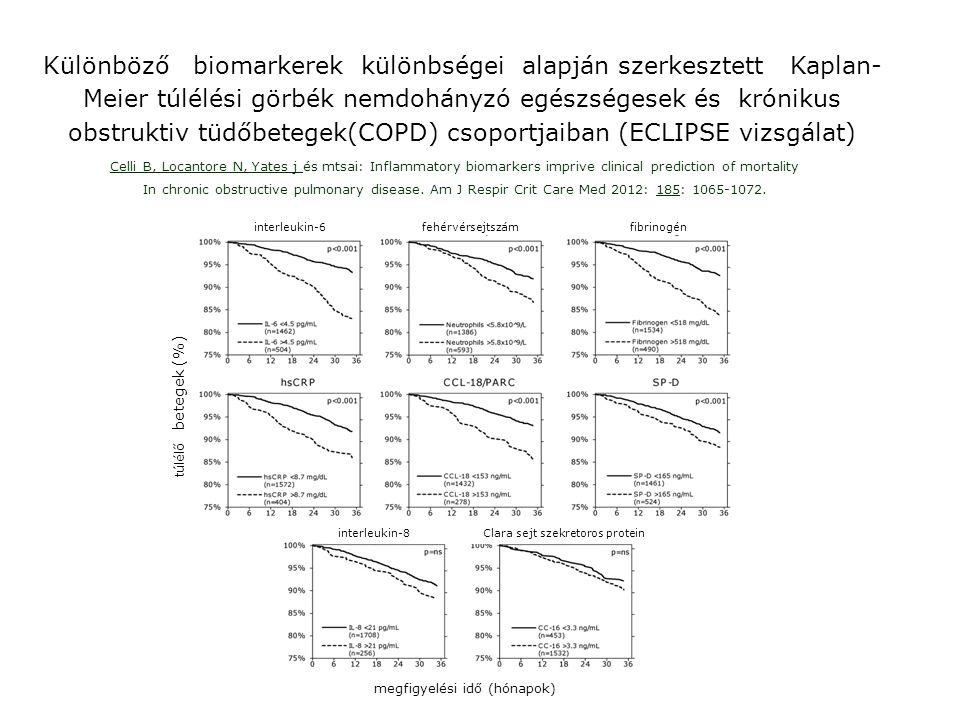 Különböző biomarkerek különbségei alapján szerkesztett Kaplan-Meier túlélési görbék nemdohányzó egészségesek és krónikus obstruktiv tüdőbetegek(COPD) csoportjaiban (ECLIPSE vizsgálat)