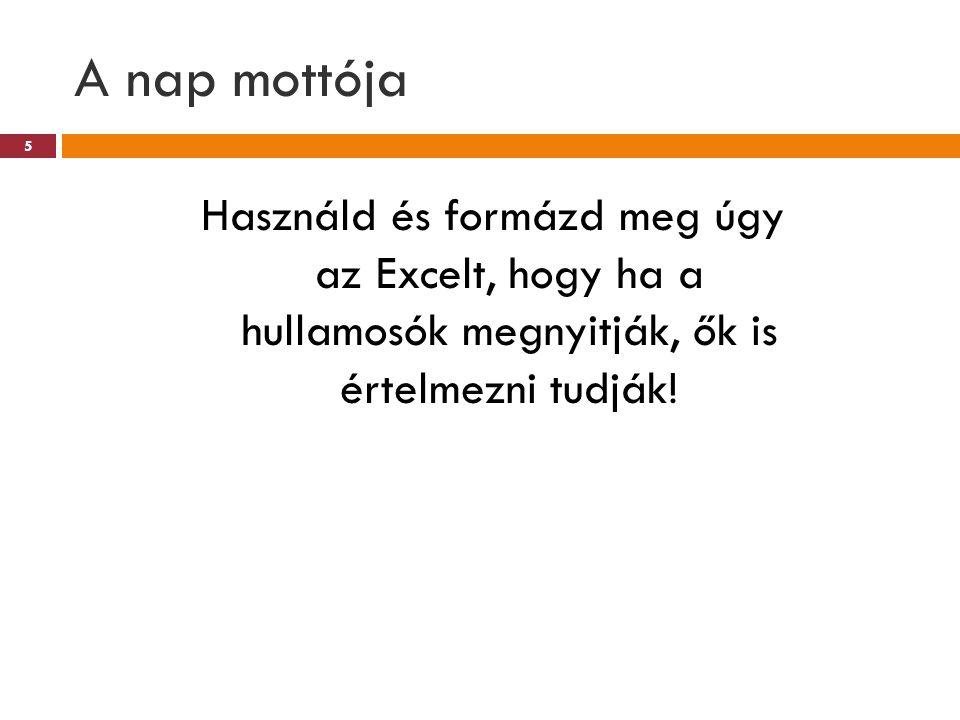 A nap mottója Használd és formázd meg úgy az Excelt, hogy ha a hullamosók megnyitják, ők is értelmezni tudják!