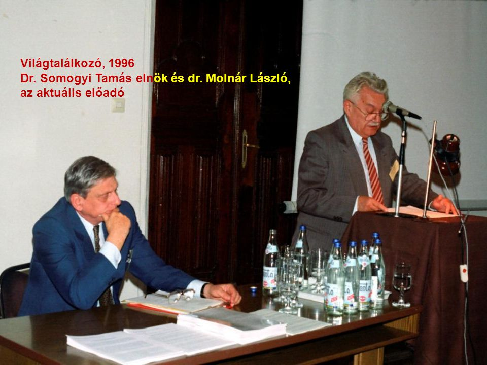 Világtalálkozó, 1996 Dr. Somogyi Tamás elnök és dr. Molnár László, az aktuális előadó