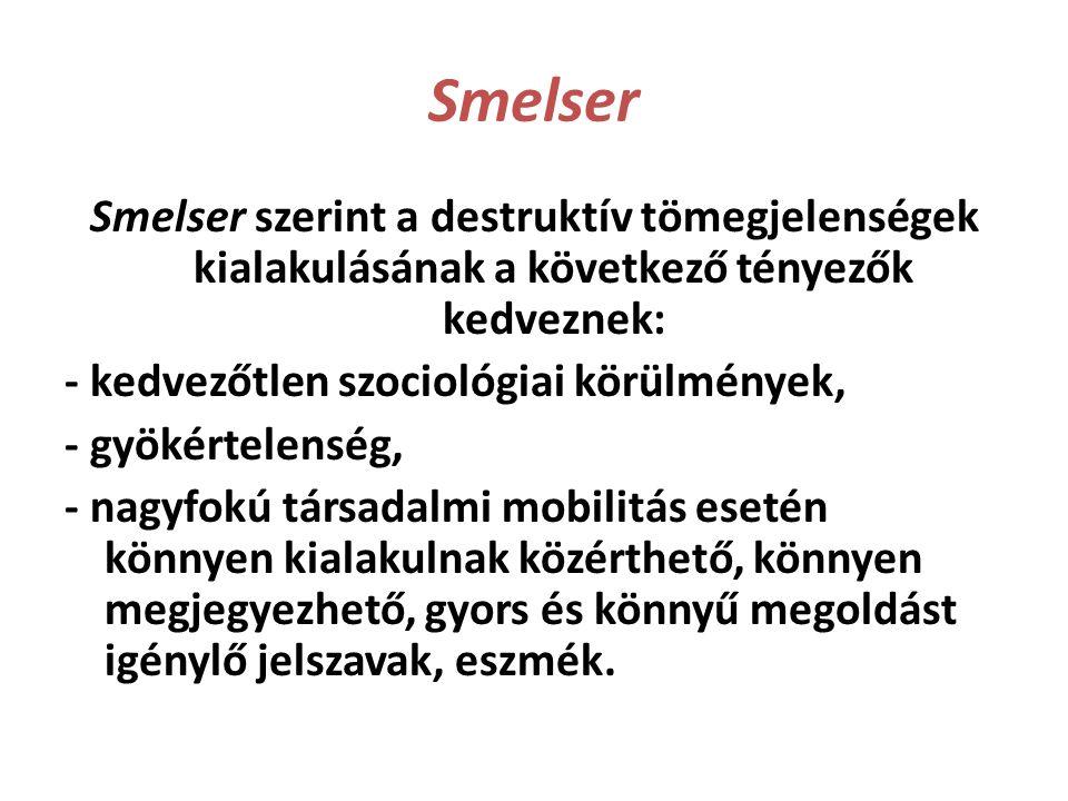 Smelser Smelser szerint a destruktív tömegjelenségek kialakulásának a következő tényezők kedveznek: