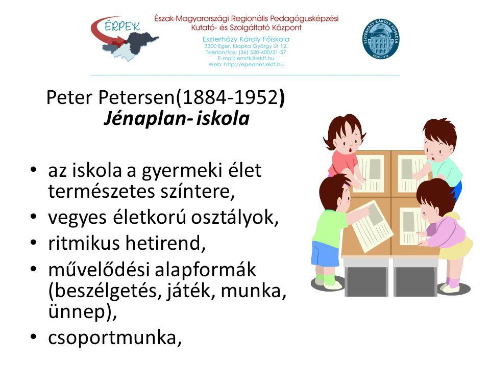 Peter Petersen(1884-1952) Jénaplan- iskola