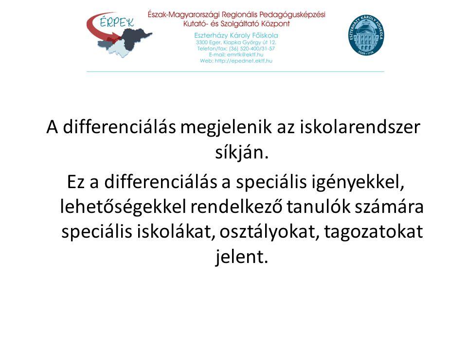 A differenciálás megjelenik az iskolarendszer síkján.