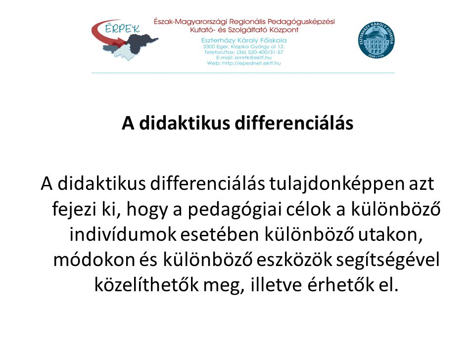 A didaktikus differenciálás