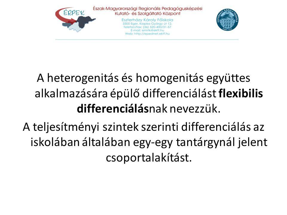 A heterogenitás és homogenitás együttes alkalmazására épülő differenciálást flexibilis differenciálásnak nevezzük.