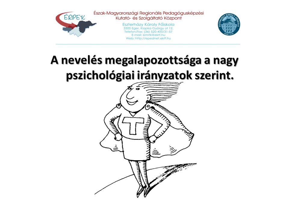 A nevelés megalapozottsága a nagy pszichológiai irányzatok szerint.