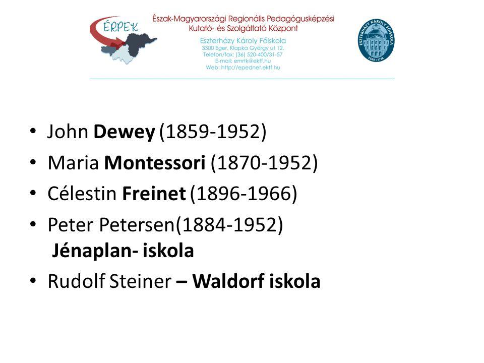 John Dewey (1859-1952) Maria Montessori (1870-1952) Célestin Freinet (1896-1966) Peter Petersen(1884-1952) Jénaplan- iskola.