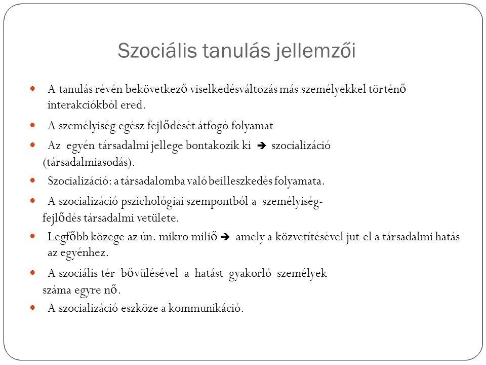 Szociális tanulás jellemzői