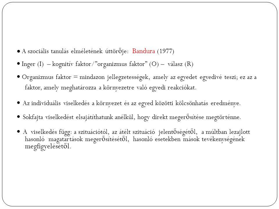  A szociális tanulás elméletének úttörője: Bandura (1977)