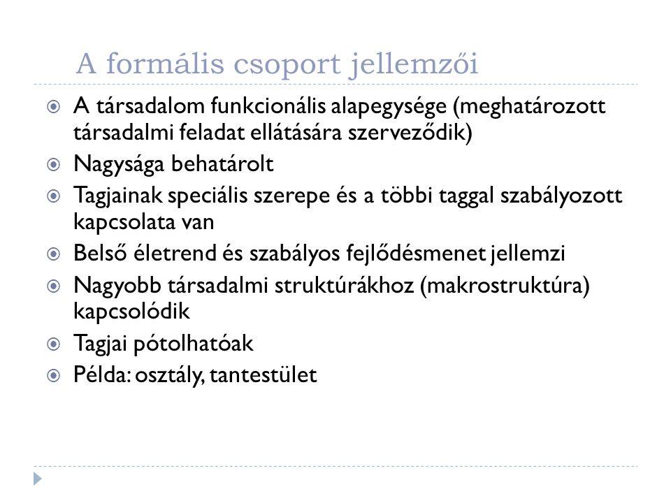 A formális csoport jellemzői