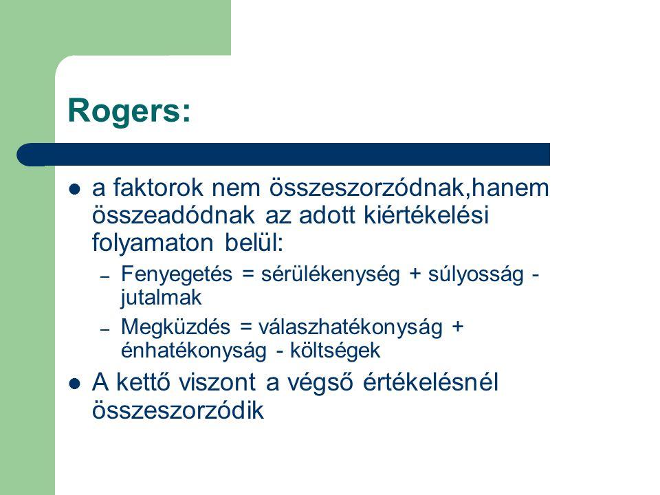 Rogers: a faktorok nem összeszorzódnak,hanem összeadódnak az adott kiértékelési folyamaton belül: Fenyegetés = sérülékenység + súlyosság - jutalmak.