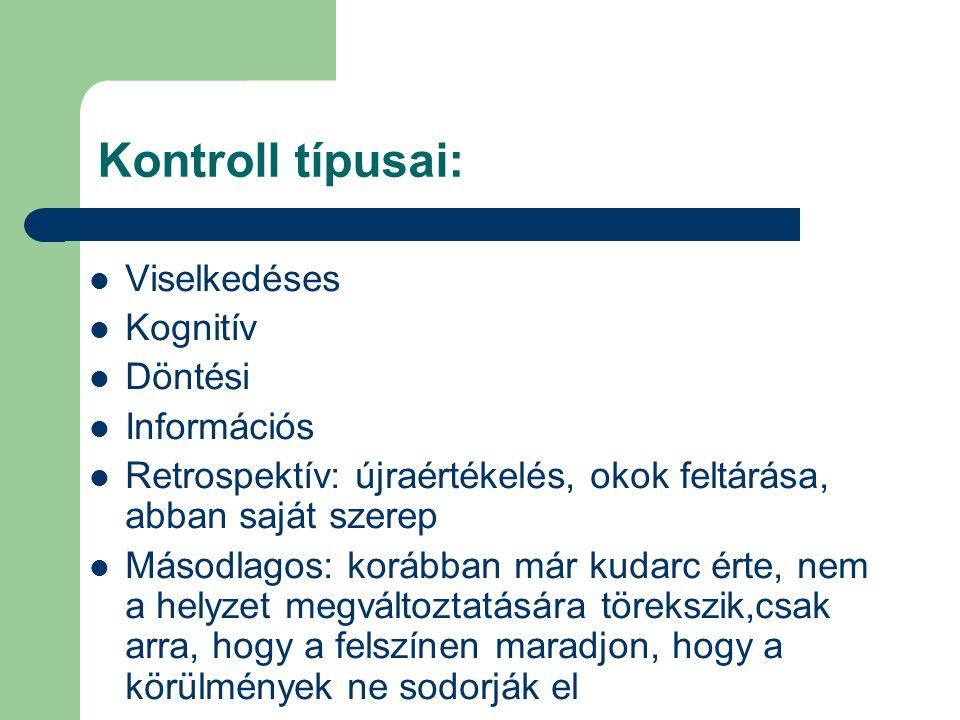 Kontroll típusai: Viselkedéses Kognitív Döntési Információs