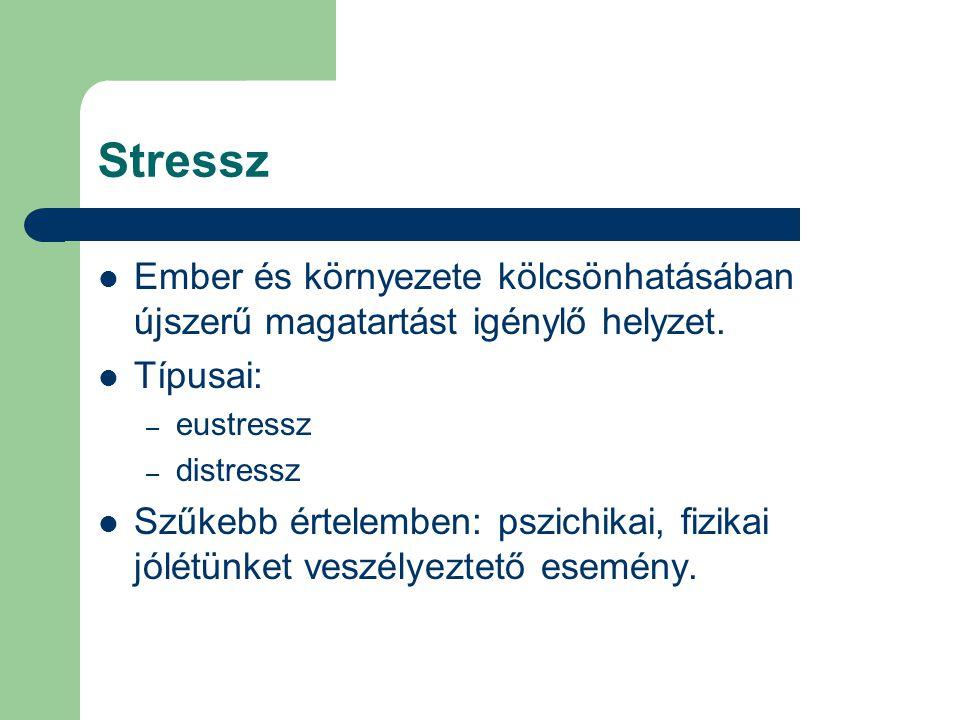 Stressz Ember és környezete kölcsönhatásában újszerű magatartást igénylő helyzet. Típusai: eustressz.