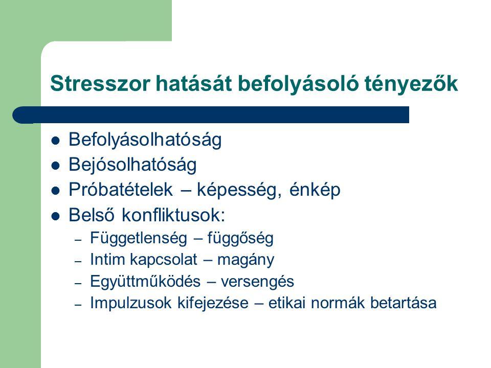 Stresszor hatását befolyásoló tényezők