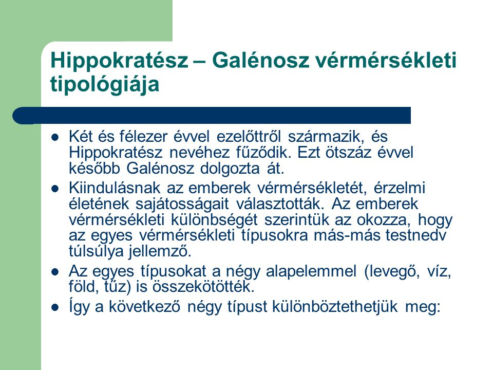Hippokratész – Galénosz vérmérsékleti tipológiája