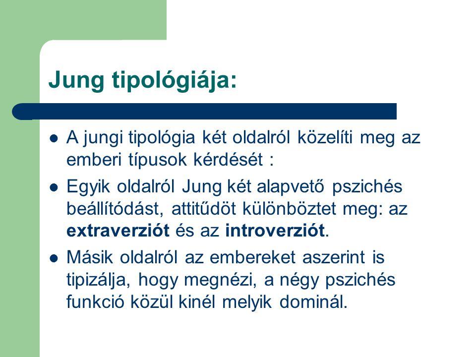 Jung tipológiája: A jungi tipológia két oldalról közelíti meg az emberi típusok kérdését :