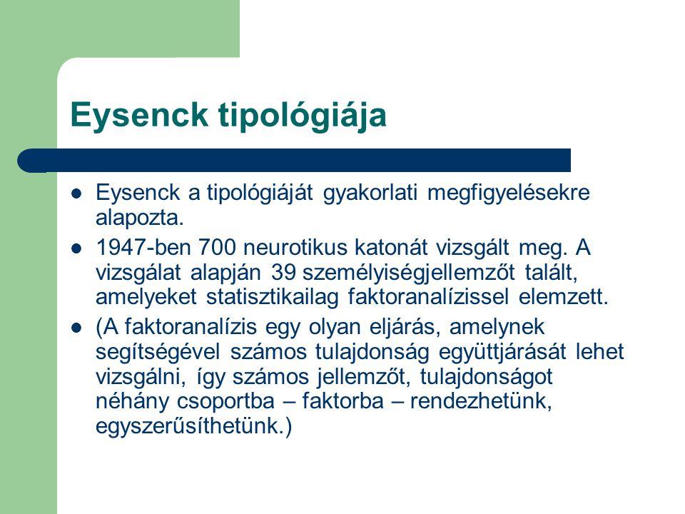 Eysenck tipológiája Eysenck a tipológiáját gyakorlati megfigyelésekre alapozta.