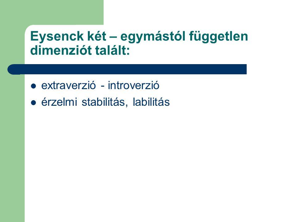 Eysenck két – egymástól független dimenziót talált: