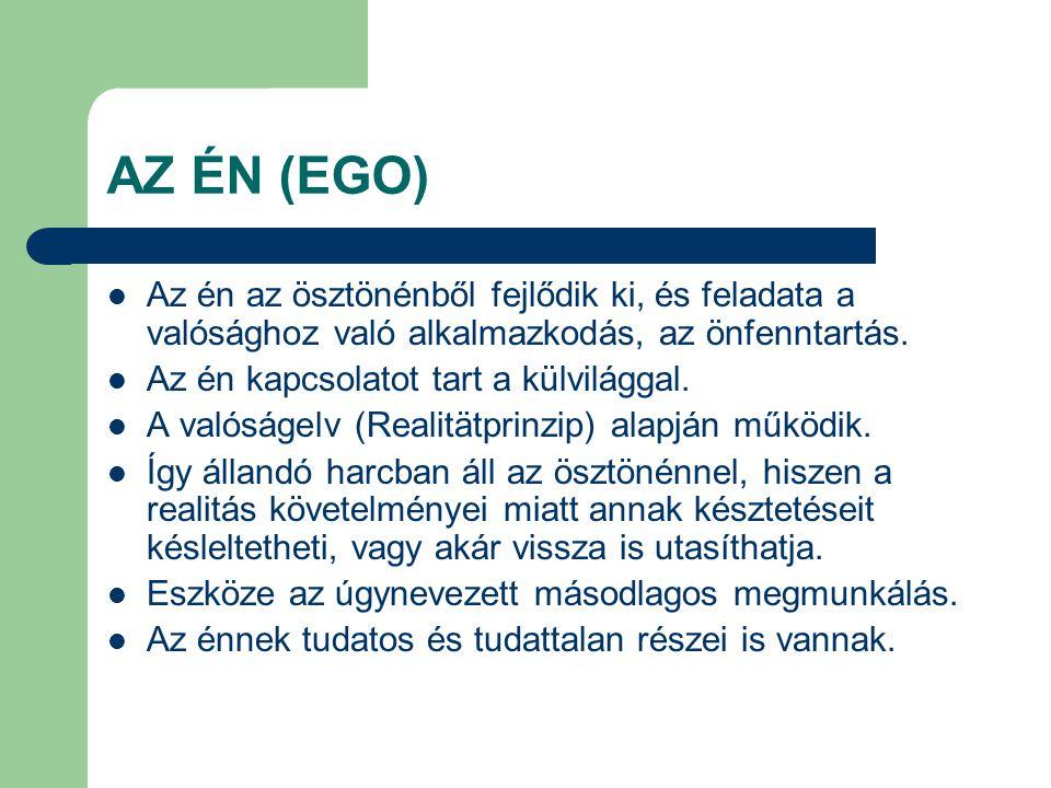 AZ ÉN (EGO) Az én az ösztönénből fejlődik ki, és feladata a valósághoz való alkalmazkodás, az önfenntartás.