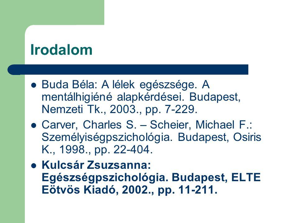 Irodalom Buda Béla: A lélek egészsége. A mentálhigiéné alapkérdései. Budapest, Nemzeti Tk., 2003., pp. 7-229.