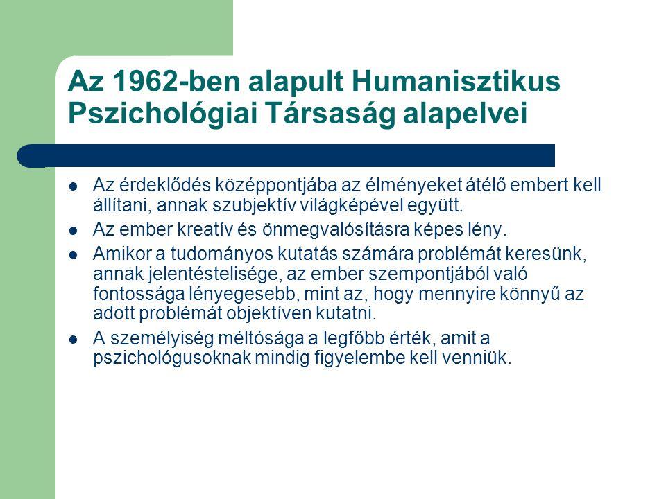 Az 1962-ben alapult Humanisztikus Pszichológiai Társaság alapelvei