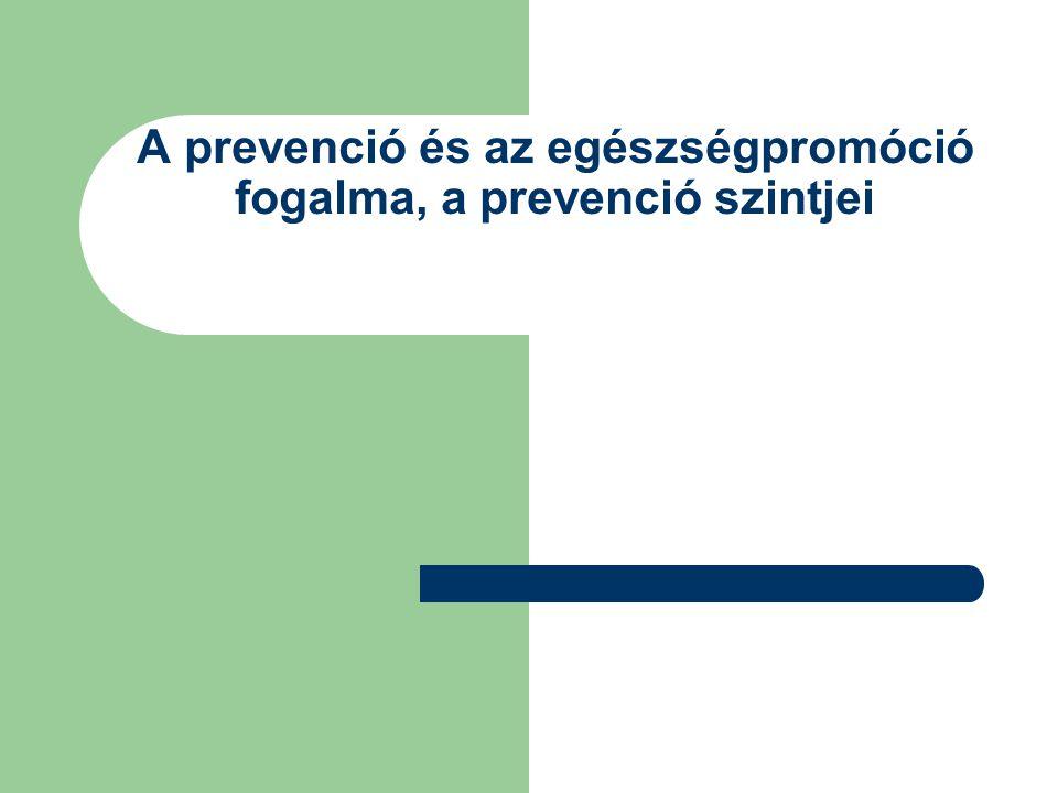 A prevenció és az egészségpromóció fogalma, a prevenció szintjei