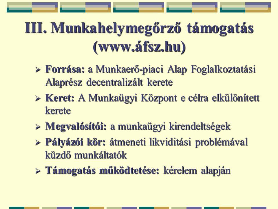 III. Munkahelymegőrző támogatás (www.áfsz.hu)