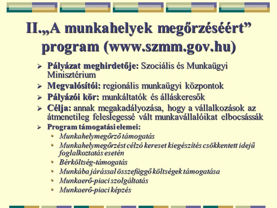 """II.""""A munkahelyek megőrzéséért program (www.szmm.gov.hu)"""