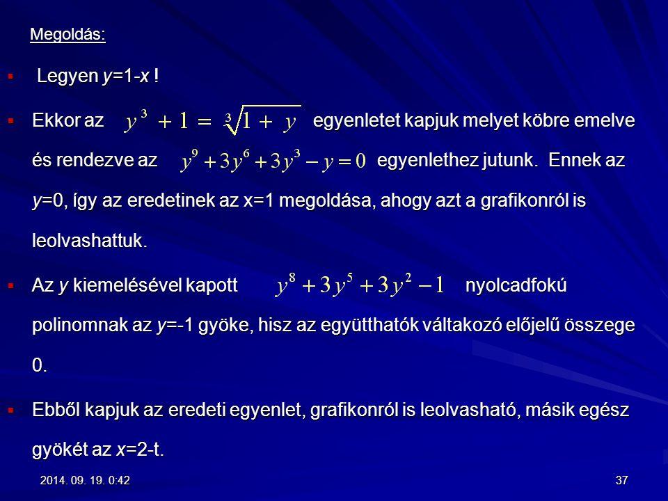 Megoldás: Legyen y=1-x !