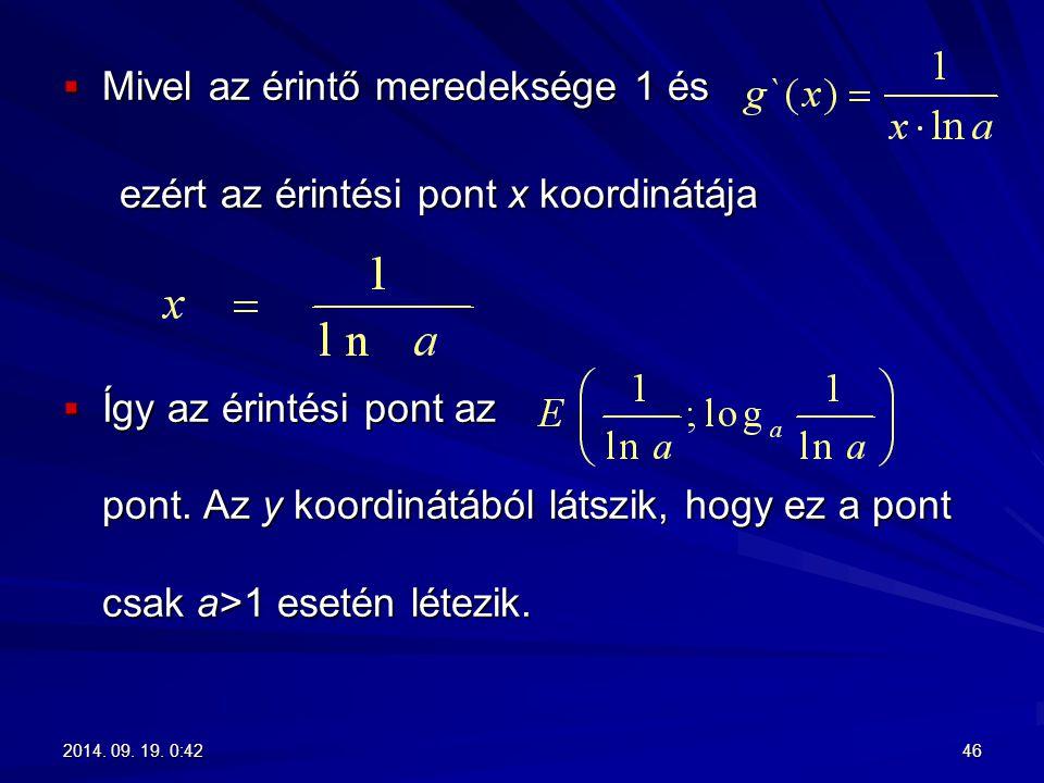Mivel az érintő meredeksége 1 és ezért az érintési pont x koordinátája