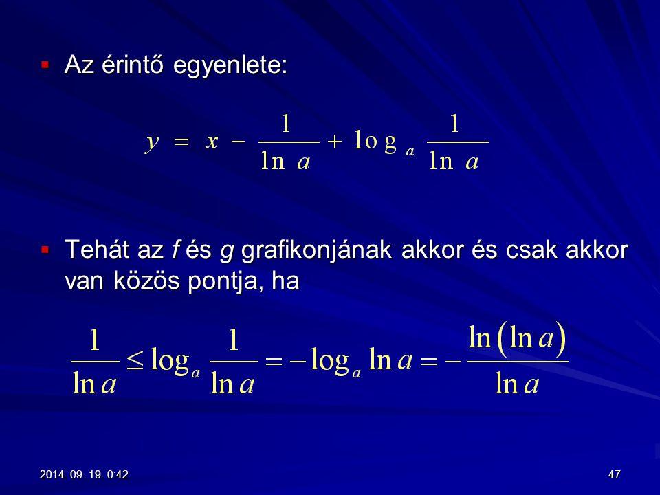 Tehát az f és g grafikonjának akkor és csak akkor van közös pontja, ha