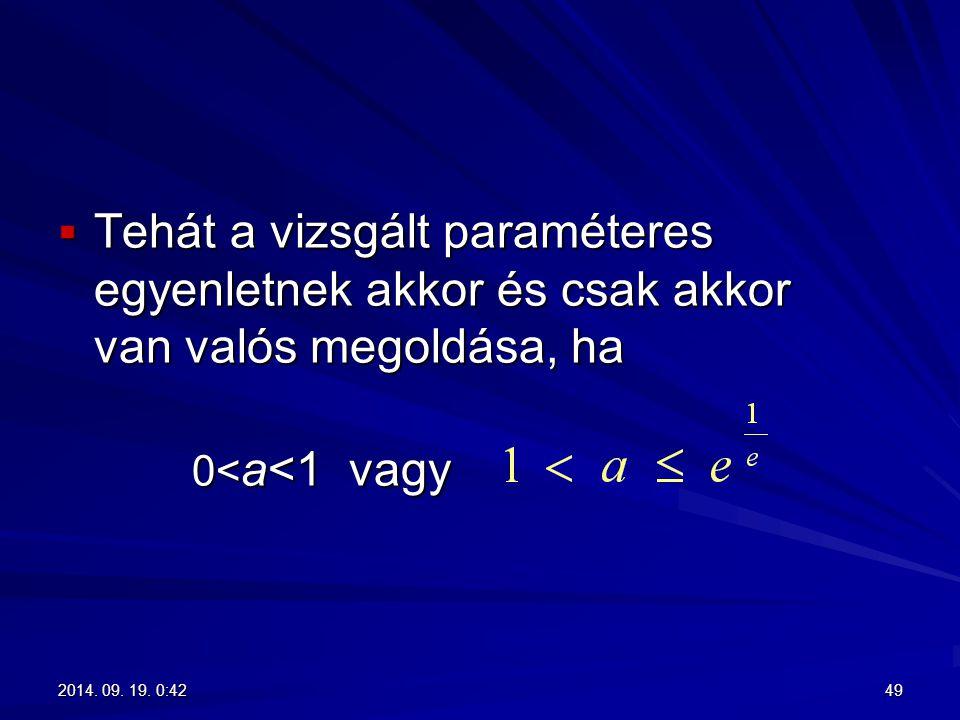 Tehát a vizsgált paraméteres egyenletnek akkor és csak akkor van valós megoldása, ha