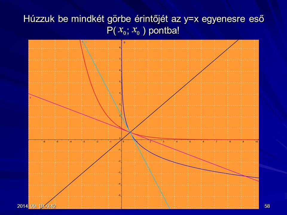 Húzzuk be mindkét görbe érintőjét az y=x egyenesre eső P( ; ) pontba!