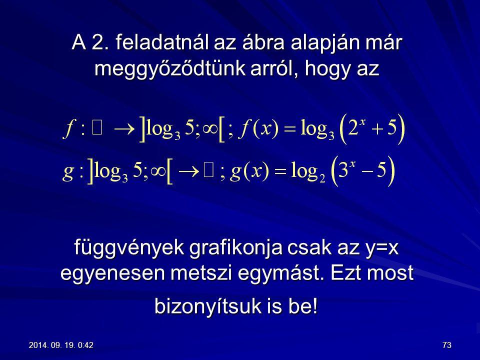 A 2. feladatnál az ábra alapján már meggyőződtünk arról, hogy az függvények grafikonja csak az y=x egyenesen metszi egymást. Ezt most bizonyítsuk is be!