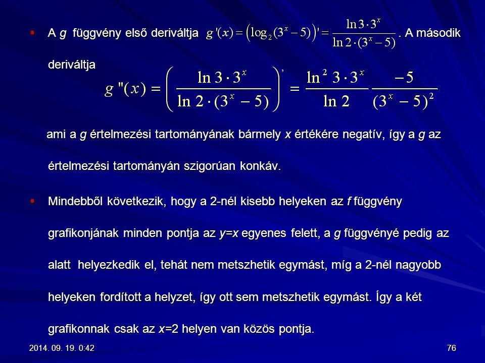 A g függvény első deriváltja . A második deriváltja