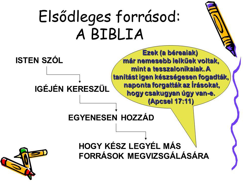 Elsődleges forrásod: A BIBLIA