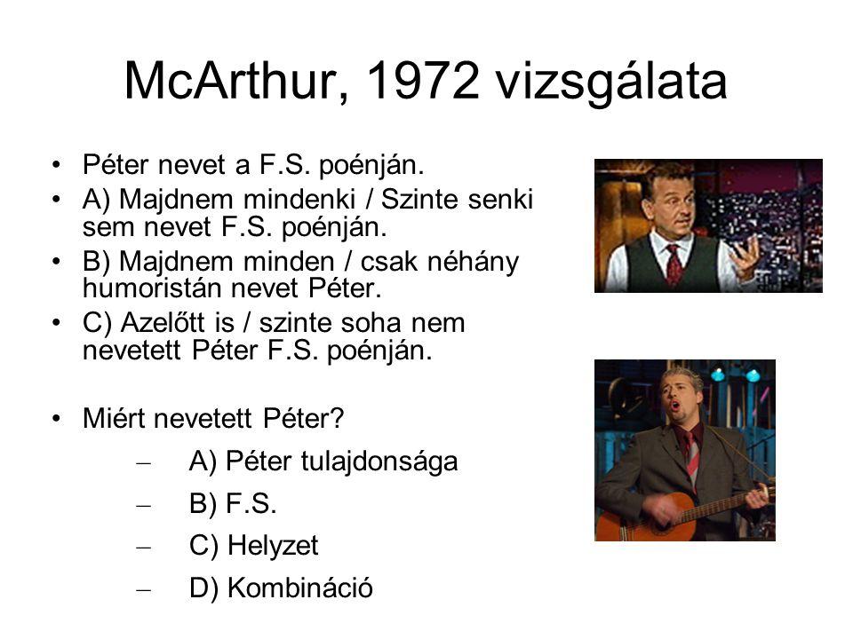 McArthur, 1972 vizsgálata Péter nevet a F.S. poénján.