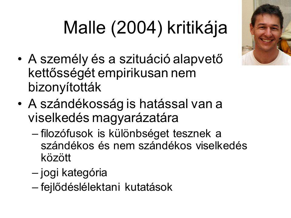 Malle (2004) kritikája A személy és a szituáció alapvető kettősségét empirikusan nem bizonyították.
