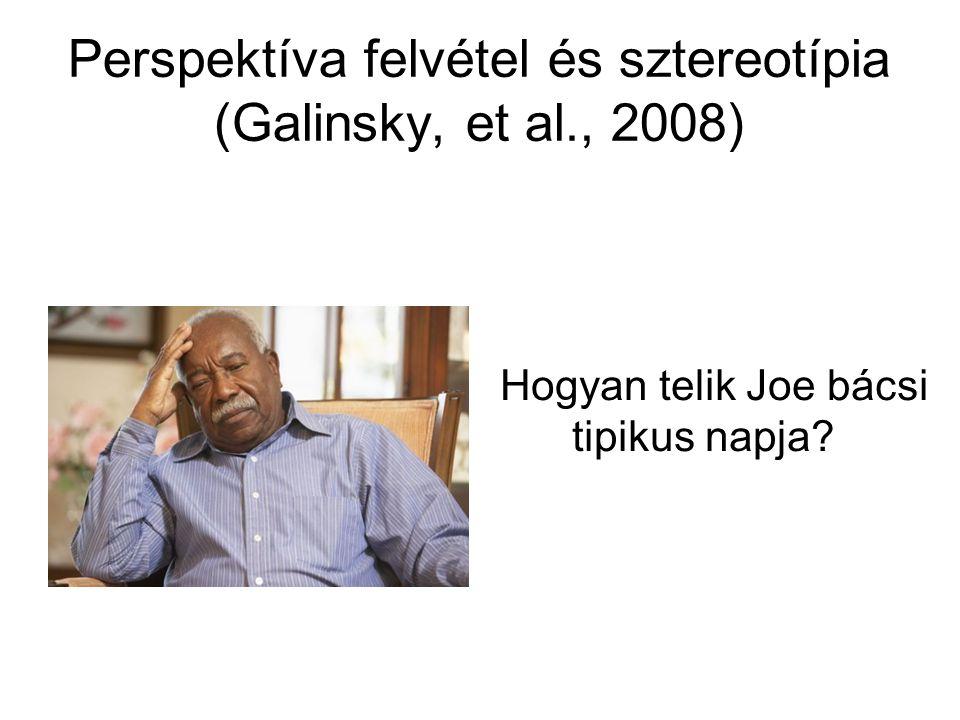 Perspektíva felvétel és sztereotípia (Galinsky, et al., 2008)
